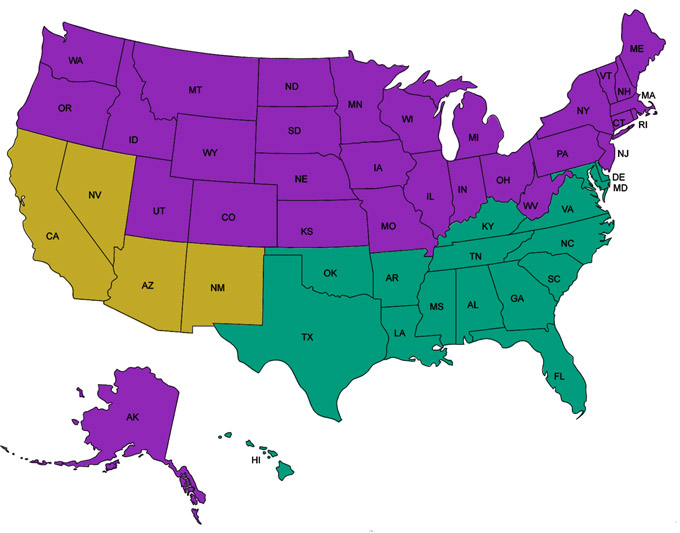 USA 2015 SEER Standards Map