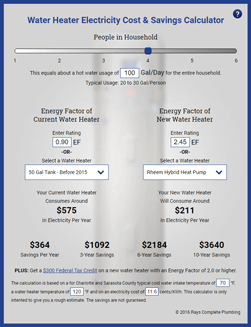 Water Heater Savings Calculator