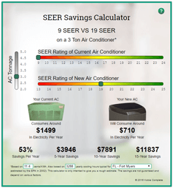 SEER Savings Calculator Screenshot