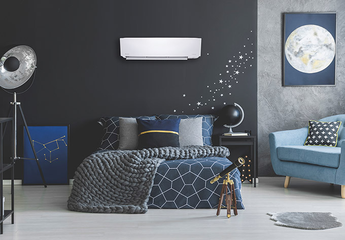Daikin ductless mini split air conditioner in a bedroom
