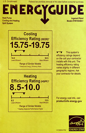 Energy Guide Label Showing SEER and HSPF Rating