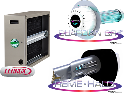 Indoor Air Quality Products, Lennox Pure Air REME Halo, Guardian Air QR+