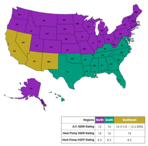 SEER Standards US Map