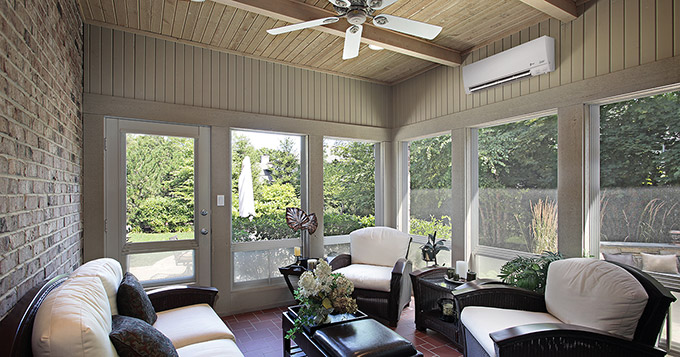 Ductless Unit installed on an enclosed lanai