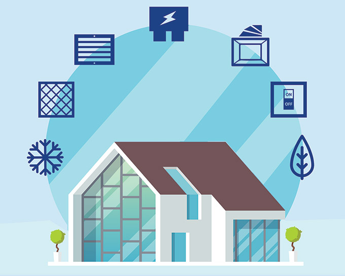House graphic with icons illustrating the DIY AC troubleshooting tips