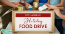 18th Annual Holiday Food Drive Flyer - photo of people loading canned goods into a box