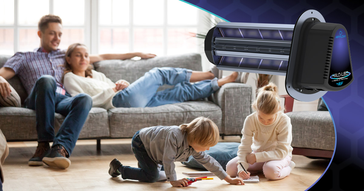 HALO LED whole-house air purifier with family in living room