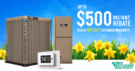 YORK rebates spring 2020 banner - YORK air conditioners and yellow flowers