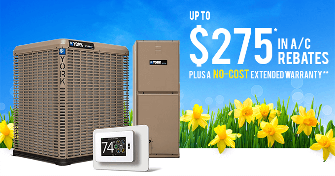 YORK rebates summer 2020 banner - YORK air conditioners and yellow flowers