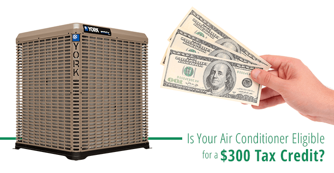 Is your air conditioner eligible for a $300 tax credit? photo of ac with hand holding cash