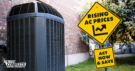 Air Conditioner with a sign reading Rising AC Prices - Act Now and Save