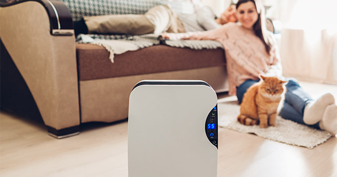 air purifier in living room with a couple and their cat relaxing in the background