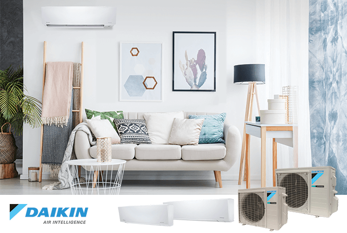 Daikin ductless mini split air conditioning system installed in living room
